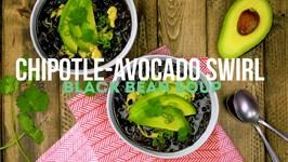Black Bean Soup With Avocado - Sour Cream Swirl