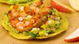 Grilled Shrimp Tostadas with Pinata Apple and Mango Salsa