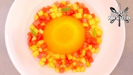 Orange Jelly With Tropical Fruits / Easy Dessert Recipe
