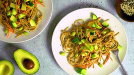 Peanut Noodles With Avocado - Cucumber And Sesame Seeds
