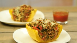 Turkey And Kale-Stuffed Spaghetti Squash With Savory Tomato Sauce