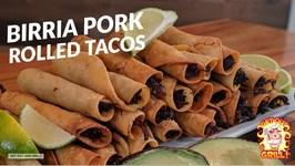 Birria Pork Rolled Tacos On The Kamado Joe Ceramic Grill
