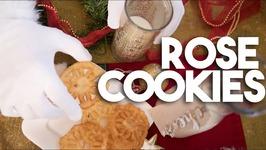 Rose Cookies or Rose de Coque - Christmas Cookie Wheels