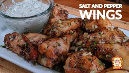 Salt And Pepper Chicken Wing With A Blue Cheese Scallion Dip