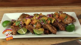 Healthy Chili Lime Chicken With A Grilled Peach Salsa