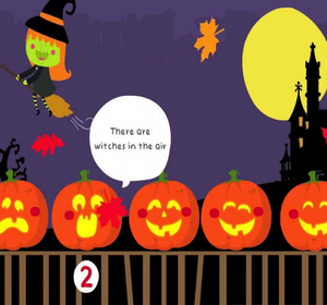 5 little pumpkins sitting on a gate hall - Halloween Dance Song