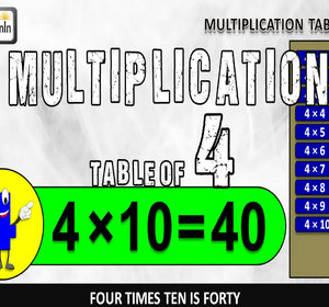 Four Table 4 Table Song Four Times Table Multiplication