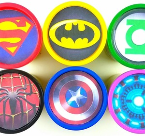 learn colors play doh cups modelling clay toys marvel avengers iron