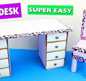 Diy Cardboard Doll Desk Easy Doll Crafts Video By Simplekidscrafts