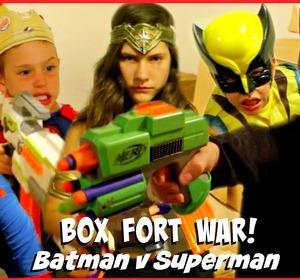 BOX FORT WAR Nerf War Batman Vs Superman W Kid Deadpool ...