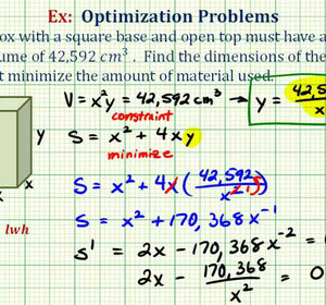 Ex optimization minimize the surface area of a box with a given ex optimization minimize the surface area of a box with a given volume video by bullcleo1 fawesome ccuart Choice Image