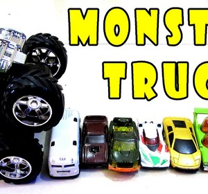 monster truck for children train engine crash hot wheels cars stunt spider man car kids toys video by choochootrainstoddlers fawesometv