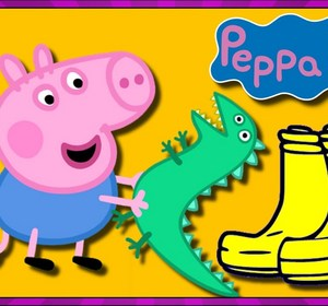 peppa pig george s dinosaur boot surprise with toy dinosaurs videos