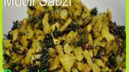 Radish with Spinach or Mooli ki Sabzi Punjabi Authentic Recipe