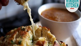 French Onion Soup With Gooey Tear And Share Cheesy Bread