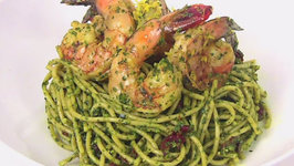 Grilled Lemon Shrimp and Pesto with Whole Wheat Spaghetti