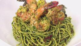 Grilled Lemon Shrimp and Pesto with Whole Wheat Spaghetti