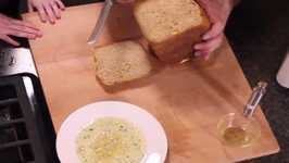 Homemade bread with olive oil dip