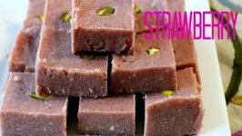 Strawberry Burfi - Easy to make Indian Dessert Recipe