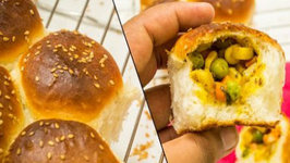 Stuffed Buns Recipe - Surprise Inside Ladi Pav Bread Feather Soft Recipe - Eggless Baking