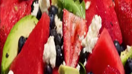 Watermelon Berries and Walnut Salad
