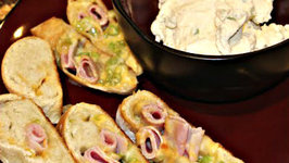 Appetizers - Ham and Cheese Bites with Cheesy Dip Sauce