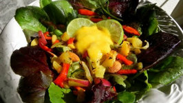 Roasted Veggie Salad with Mango Coconut Purée