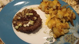 Beef/ Onion Burgers And Cheesy Home Fries
