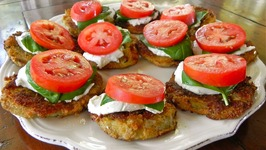 Crispy Eggplant with Goat Cheese, Tomato and Basil Appetizer