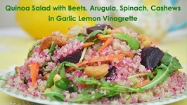 Quinoa Salad with Beets, Arugula, Spinach, Cashew Nuts in Lemon Garlic Vinaigrette