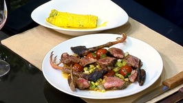 Chef Scott Schroeder- Grilled Local Pigeon With Succotash And Squash Blossom Omelette