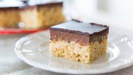 Chocolate Peanut Butter Rice Krispies Squares - No Bake Recipe