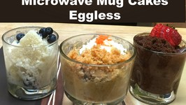 3 Classic Microwave Mug Cakes without Eggs Vanilla, Chocolate and Carrot Cake