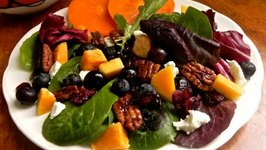 Roasted Butternut Squash and Blueberry Salad with Mandarin Orange Vinaigrette