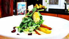 Blue Moon Pumpkin Ale with a Roasted Apple and Pear Spinach Salad