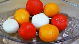 Colourful Rasgulla Indian Bengali Milk Dessert Sweets