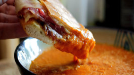 Grilled Prosciutto and Provolone Panini with Tomato Soup