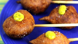 Shrimp Corn Dogs - Battered and Fried Shrimp
