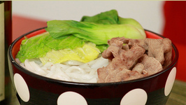 Beef Shabu Shabu with Rice Noodles and Asian Vegetables