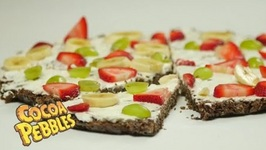 Fruit Pizza With Cocoa Pebbles Crust