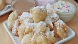 Easy Funnel Cake Bites  3 Dipping Sauces