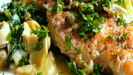 Skinny Chicken Piccata with Sauteed Spinach and Artichokes