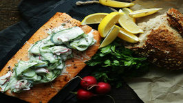 Roasted Salmon Cooked in Foil with Cucumber and Dill Salad