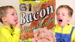 Bacon Cotton Candy Taste Test - Kids Candy Review with Eli and Liam