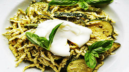 Creamy Pesto Pasta with Asparagus, Zucchini and Poached Egg