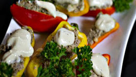 Walnut Mushroom Stuffed Peppers with Cashew Gravy