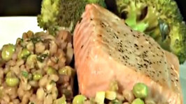 Grilled Salmon with Pea and Barley Risotto