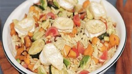 Rainbow Orzo Pasta Salad With Goats Cheese