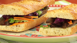 Vietnamese Sandwich with Marinaded Beef and Red Cabbage Cole Slaw