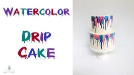 Fun Watercolor Drip Cake